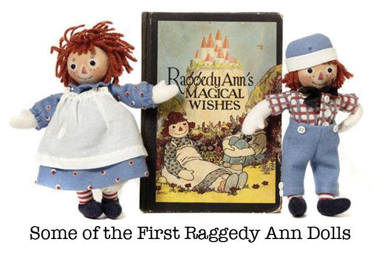 Vintage Raggedy Ann Dolls and Book