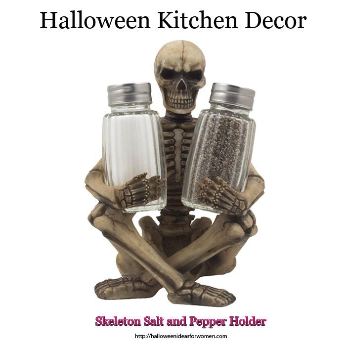 Halloweem Kitchen Decor Skeleton Salt and Pepper Holder