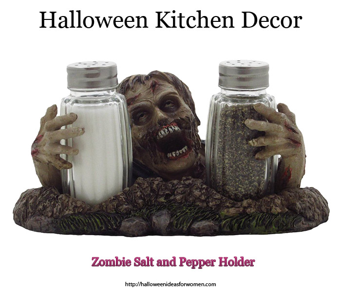 Halloween Kitchen Decor Zombie Salt and Pepper Holder