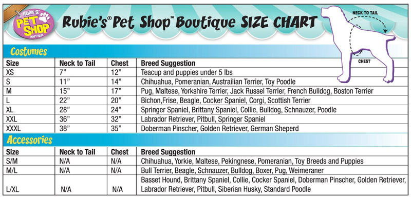 Paw Patrol Costume for Dogs Sizing Chart