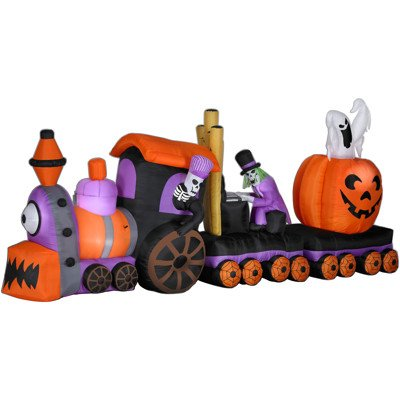 this sixteen foot animated inflatable halloween train would make the ideal add on to your haunted halloween village scene