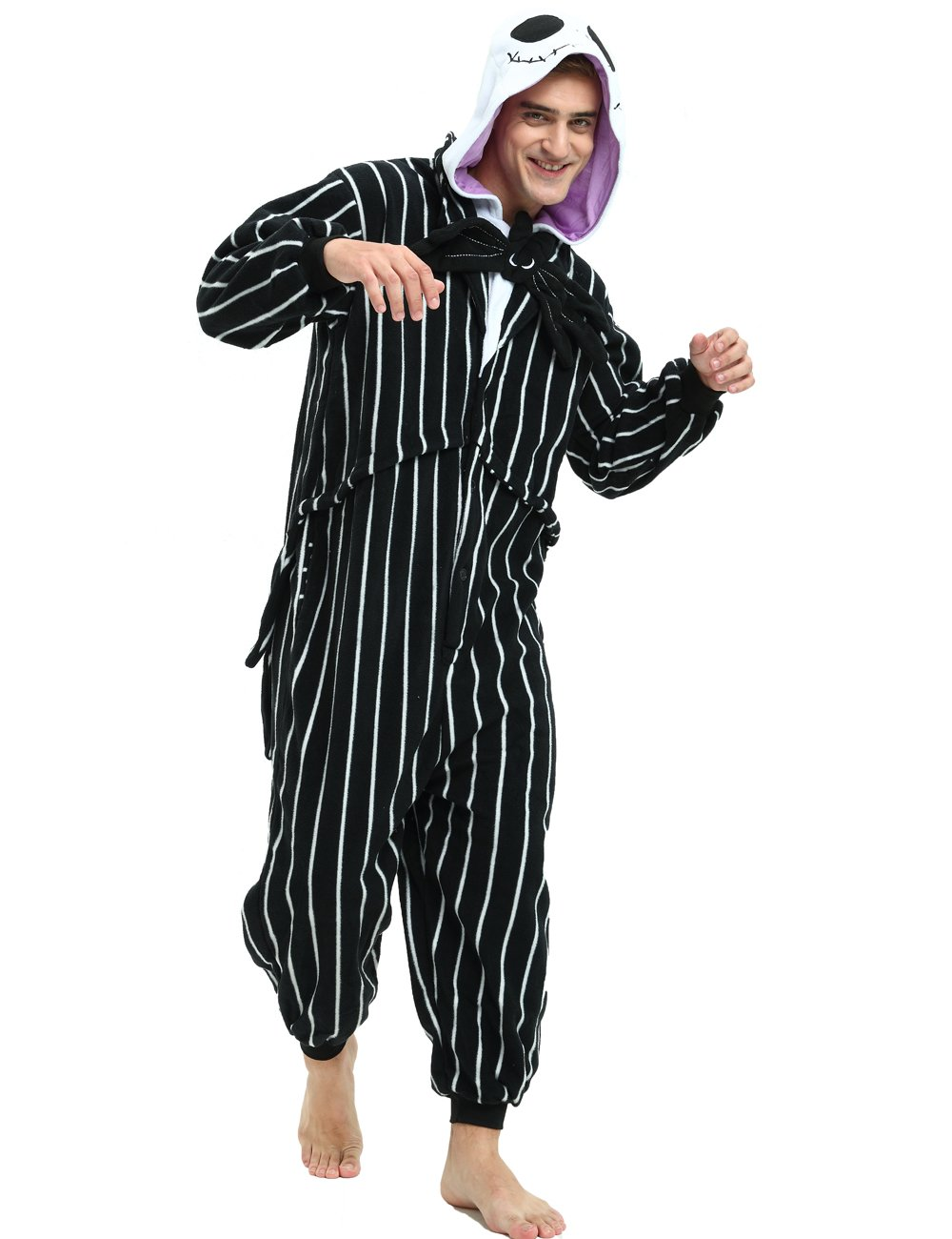 c77d1ebd5ffa7 This Jack Skellington Onesie is a Great costume or just for lounging around  the house.